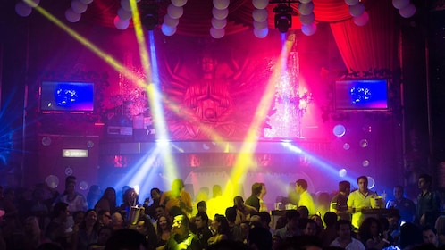 Colorful lights on stage at a night club in Cancun