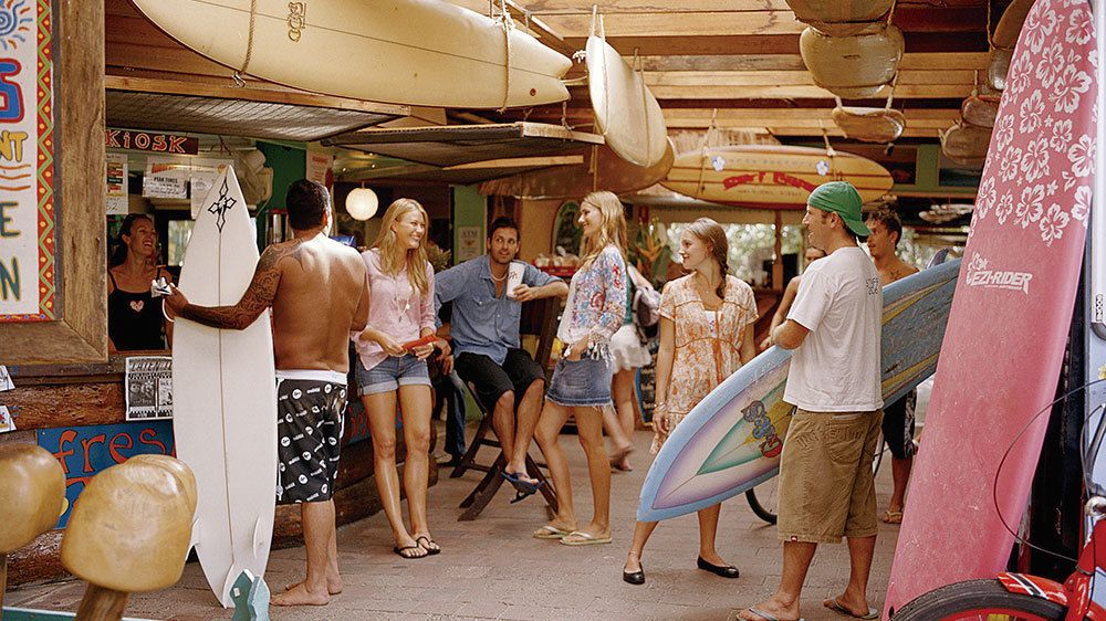 Surf shop on Byron Bay and Tropical Fruit World Day Tour in the Gold Coast Australia