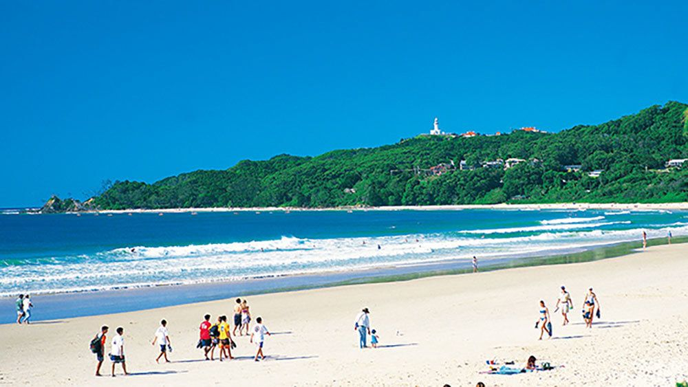Landscape of beach on Byron Bay and Tropical Fruit World Day Tour in the Gold Coast Australia