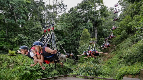 Time lapse image of three people on the Cairns Combo Bungy Jump and Minjin Swing in Australia