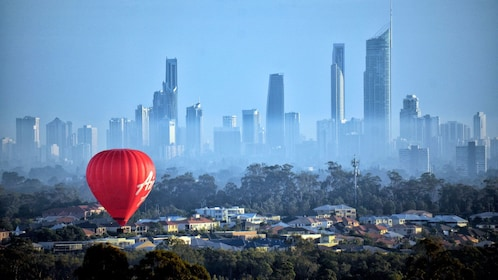 Hot air ballon with panoramic view of city in Gold Coast