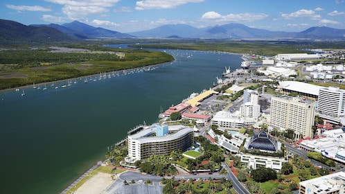 Aerial of the river and city for the Cairns Harbour Cruise in Australia