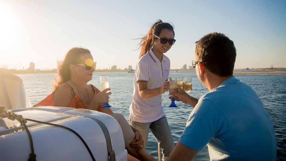 Show item 1 of 5. People drinking champagne on the Gold Coast Sailing Cruise with Champagne tour in Australia