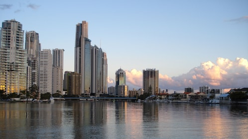 Cityscape reflected on water on the Gold Coast Private Gondola Cruise in Australia