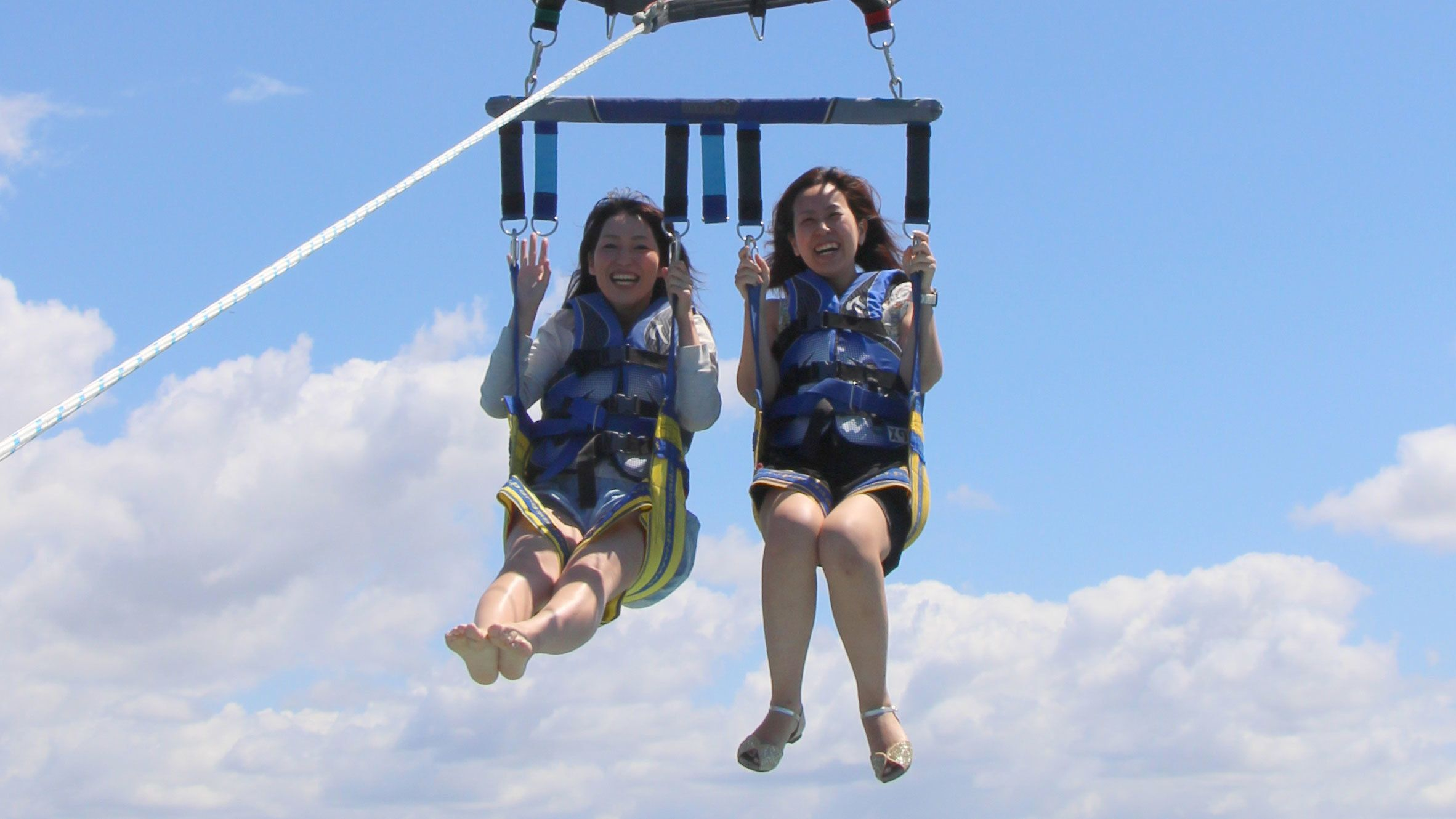Two girls on the Gold Coast Parasailing