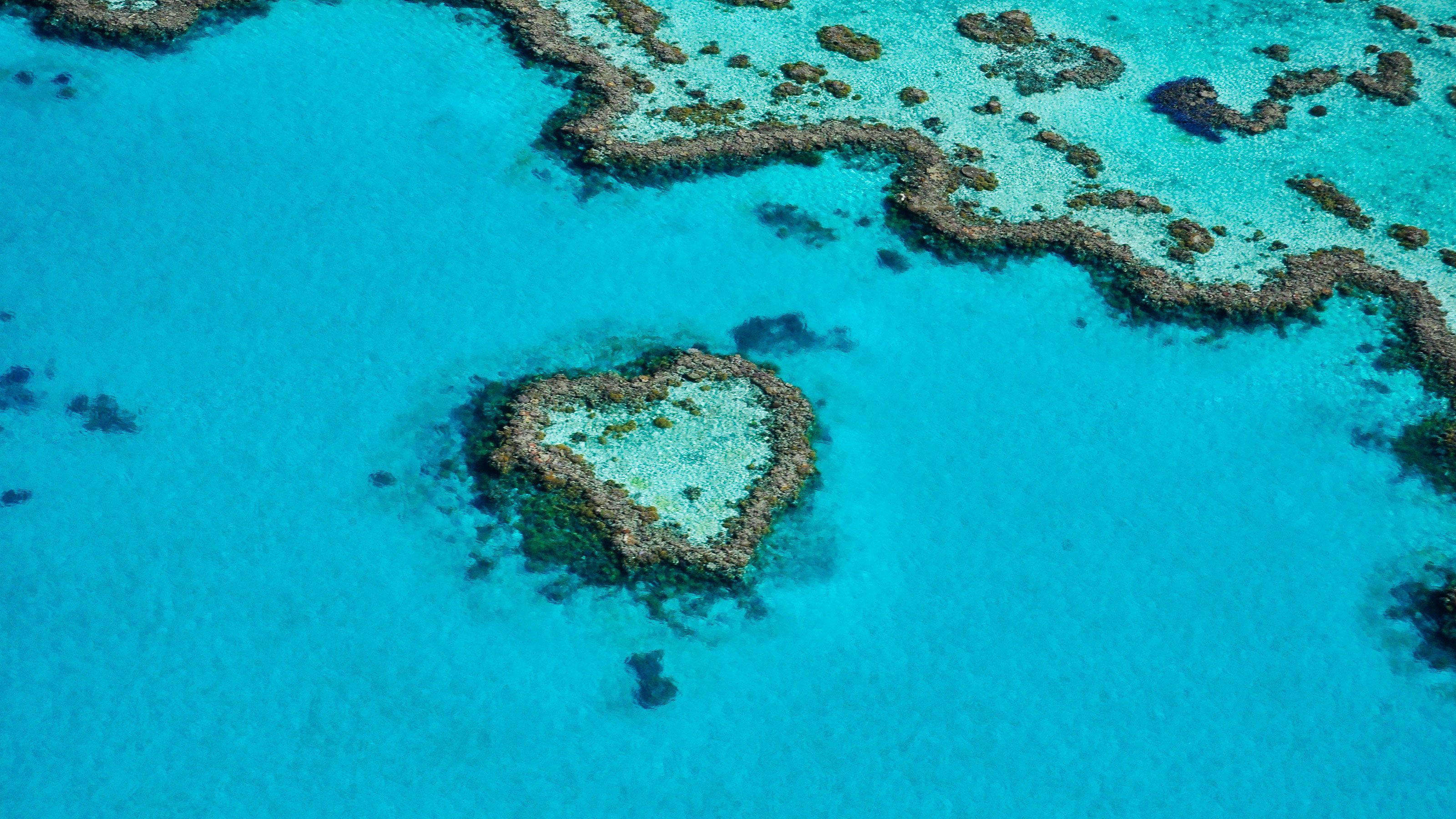Heart shaped island on the Whitsunday Reef and Island Flight in Australia