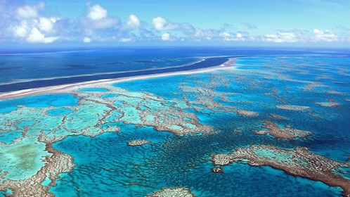 Aerial of the Whitsunday Reef and Island Flight in Australia