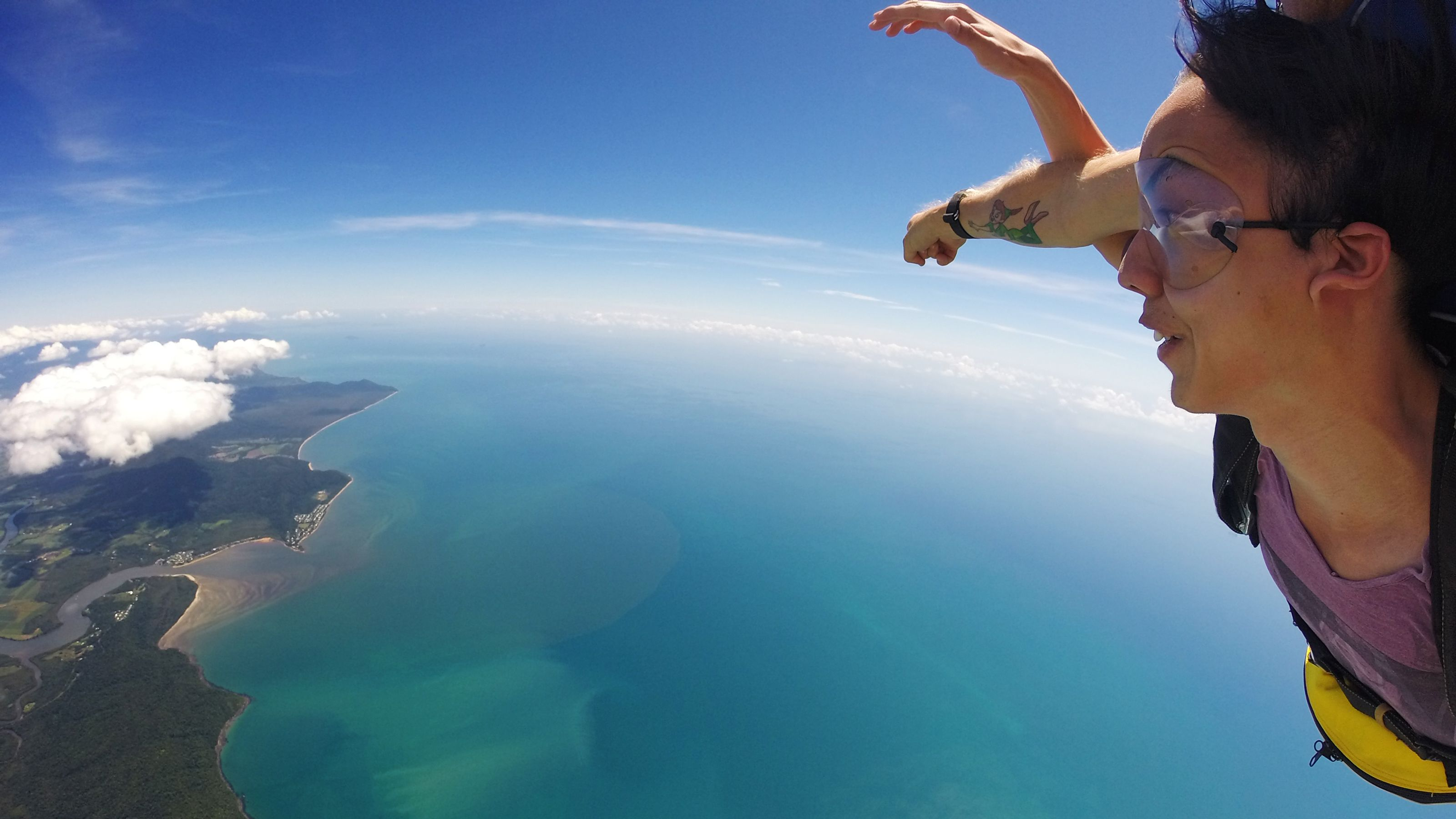 Girl free falling in Tandem Skydive in Cairns Australia