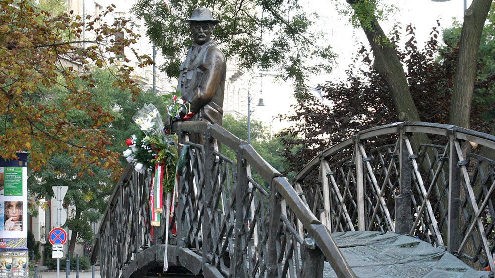 View of a statue on a bridge in Budapest
