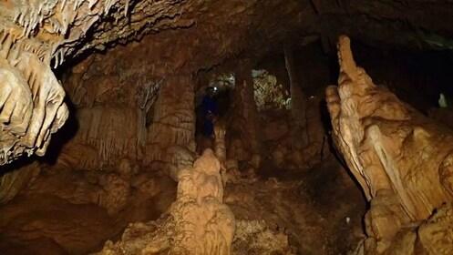 View of the dark sea caves in Mallorca Island
