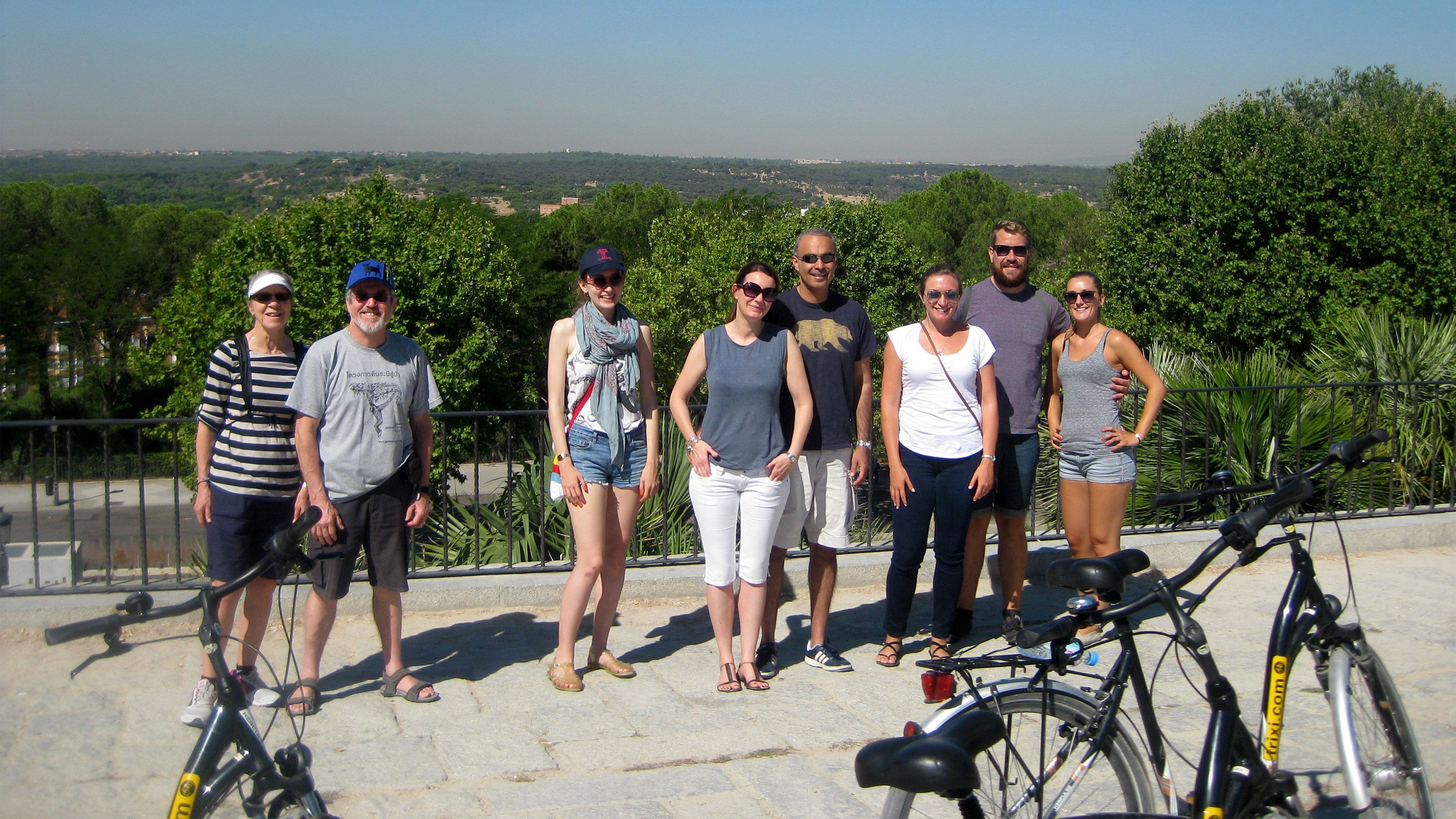 Bicycling group takes a break for a picture in Madrid