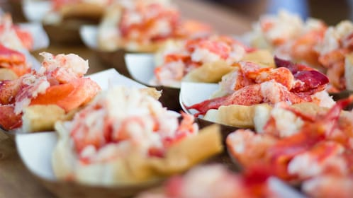 Lobster roll on paper plates