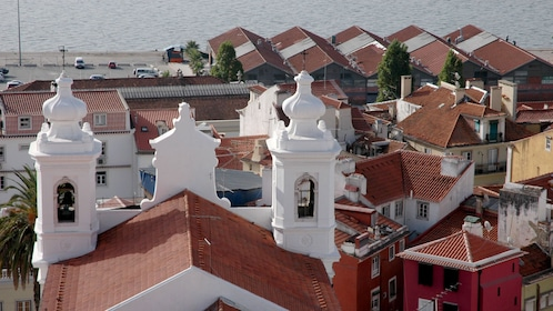 building bell towers looking out to sea in Portugal