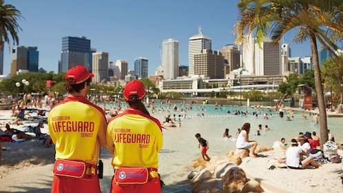 Lifeguards on duty at the Brisbane Best City Sights Tour in Australia