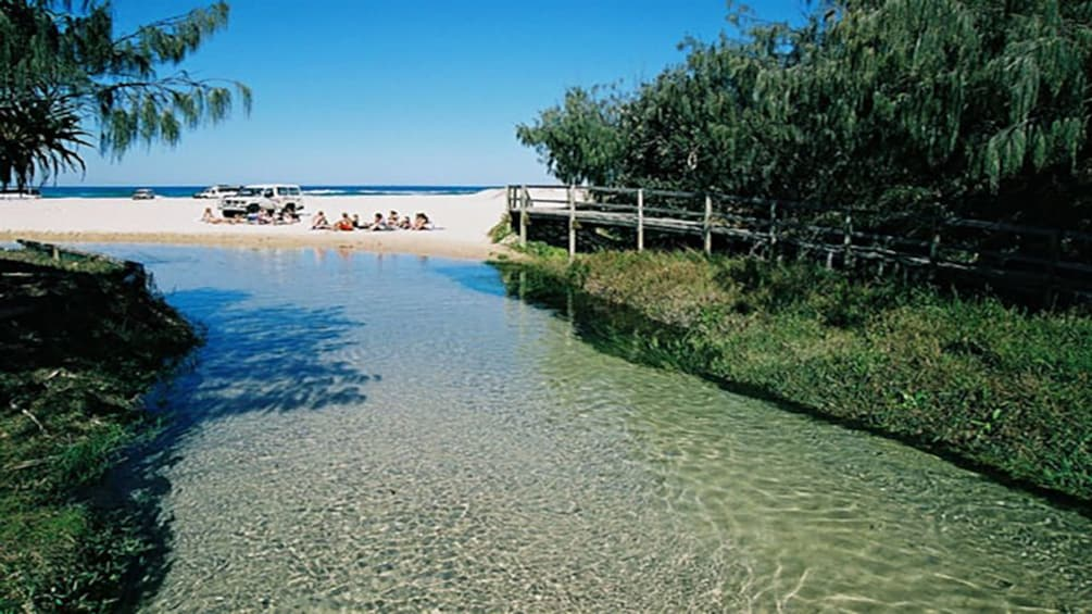 Show item 4 of 5. fresh water stream entering beach area in Brisbane