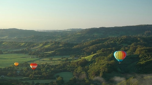 Three hot air ballons flying over landscape in Byron Bay