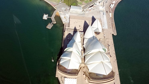 View of the Sydney Opera House from a helicopter in Australia