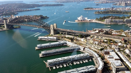 Aerial view of the Sydney Harbour via helicopter in Australia