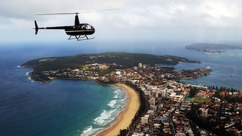 Helicopter flying above Sydney in Australia