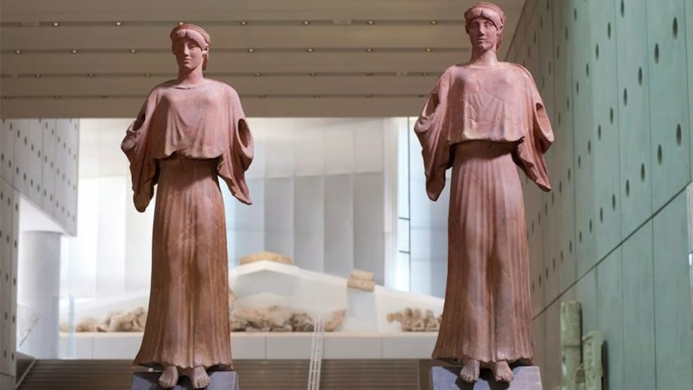 Show item 1 of 6. Clay statues on display at the Acropolis Museum in Athens