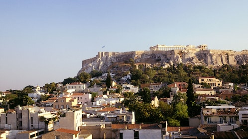 The Acropolis and city below in Athens