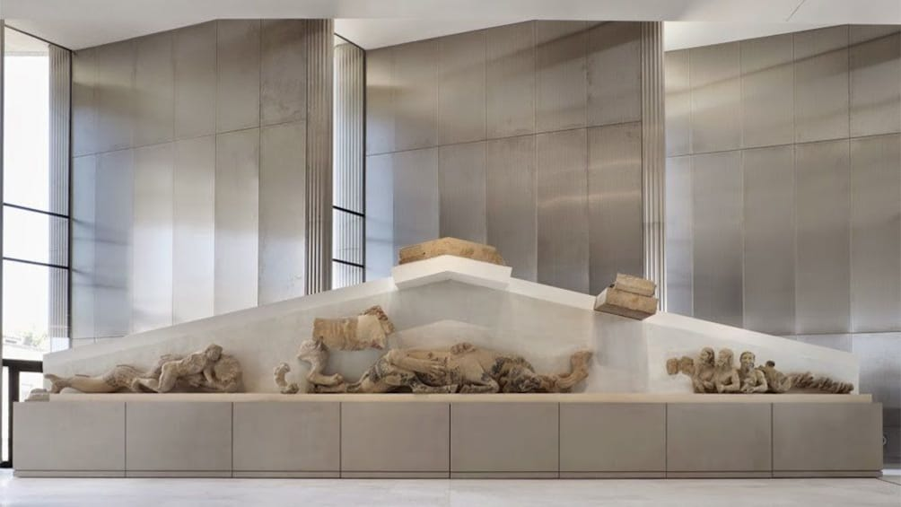 Part of the Hekatompedon temple on display at the Acropolis Museum in Athens