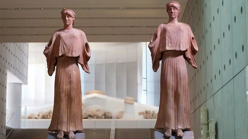 Clay statues on display at the Acropolis Museum in Athens