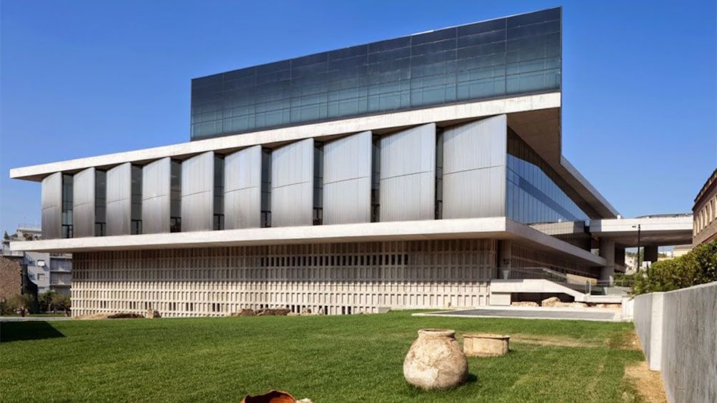 Groomed grounds at the Acropolis Museum in Athens