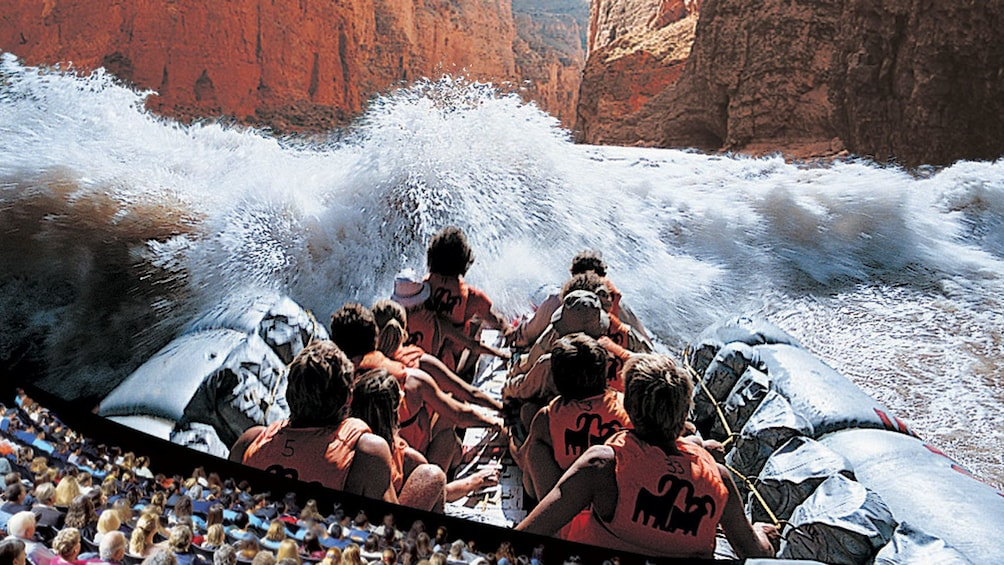 Show item 5 of 5. Theatre presentation of a white water rapid adventure through the Grand Canyon