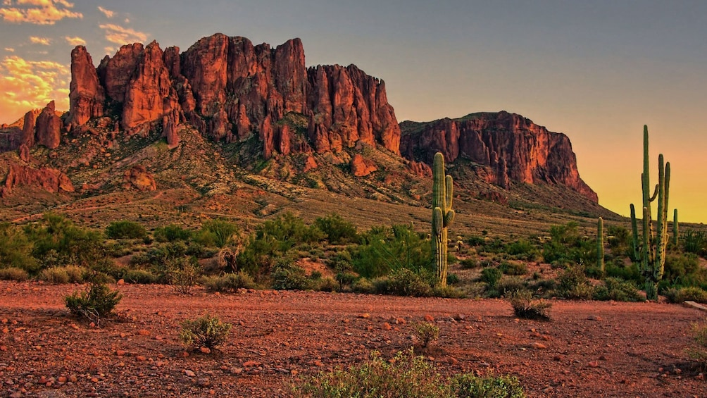 Show item 2 of 5. Red rock formations and cactus at sunset in Phoenix