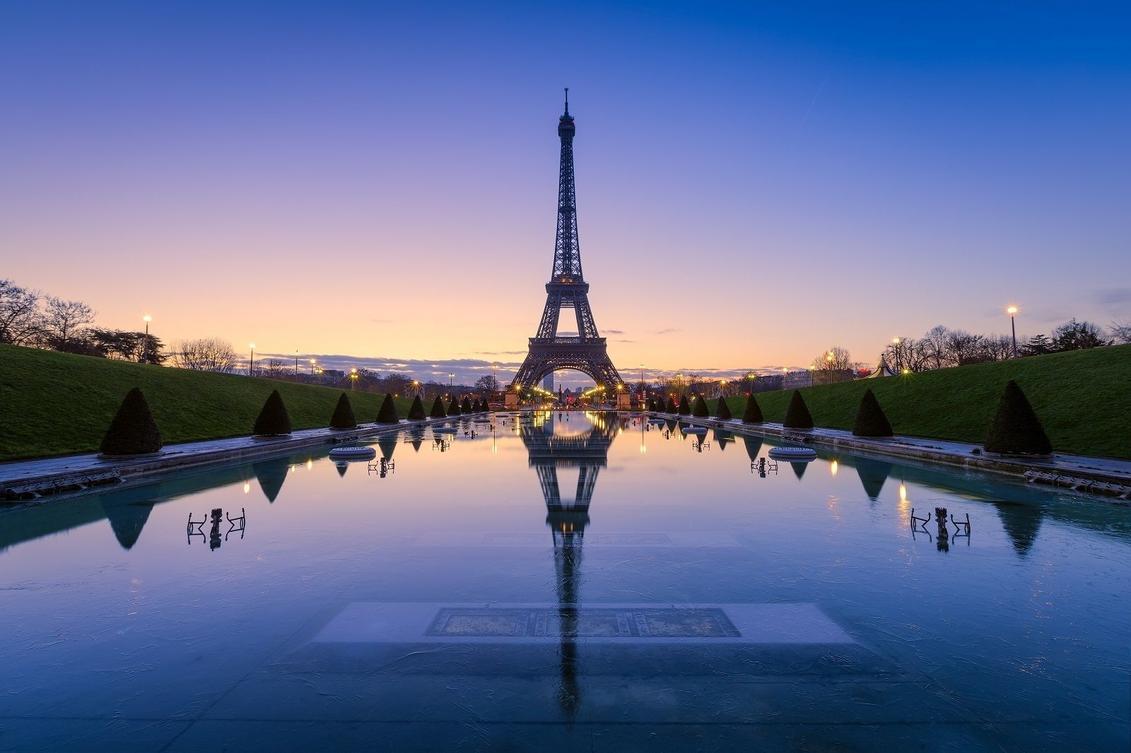 Eiffel Tower at dusk in Paris