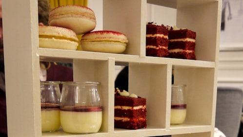 display of tea cakes and custard in London