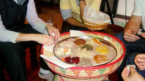 Eating in Ethiopian style arrangements in Washington DC