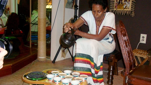 Pouring traditional Ethiopian tea in Washington DC