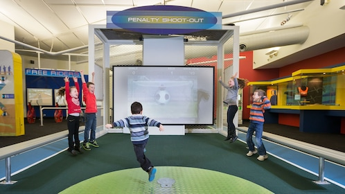 children play virtual soccer at Australian Institute of Sport in Canbera