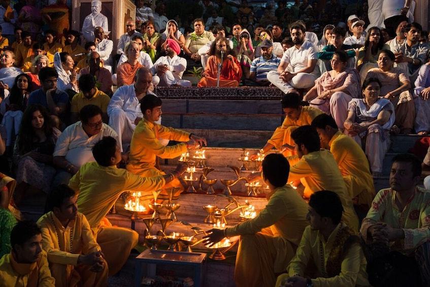 Show item 1 of 8. Ganga Aarti At Triveni Ghat at Rishikesh-Private Tour