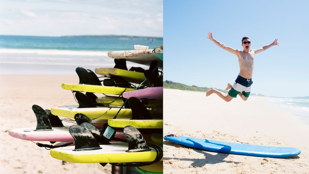 assortment of surfboards on sandy beach in Sydney