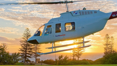 Helicopter taking off on the Fremantle Flyer Scenic Flight in Perth