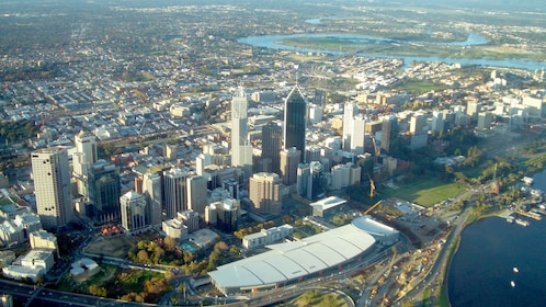 Aerial cityscape of Perth.