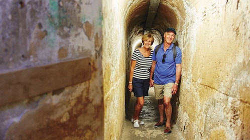 couple tour Oliver Hill bunkers in Perth