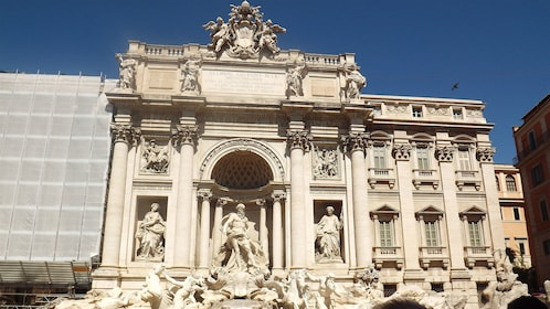 Close view of the Trevi Fountain in Rome