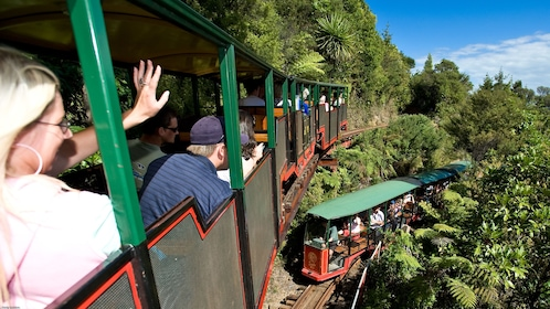 Trains passing each other on Coromandel Peninsula in New Zealand.
