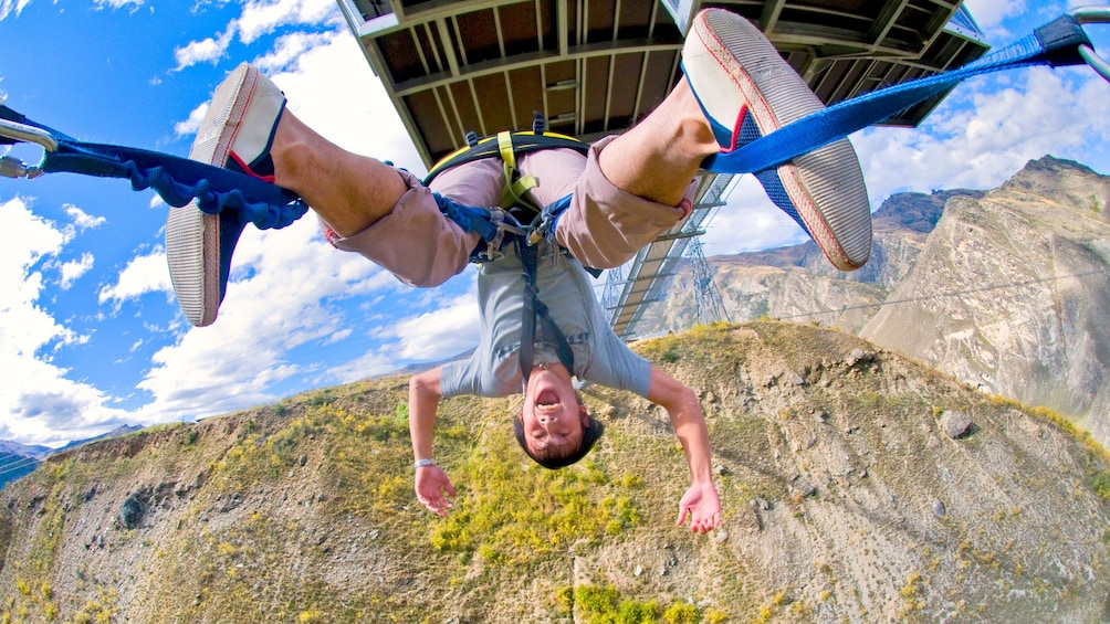 Show item 2 of 8. Nevis Swinger upside down in Queenstown, New Zealand.
