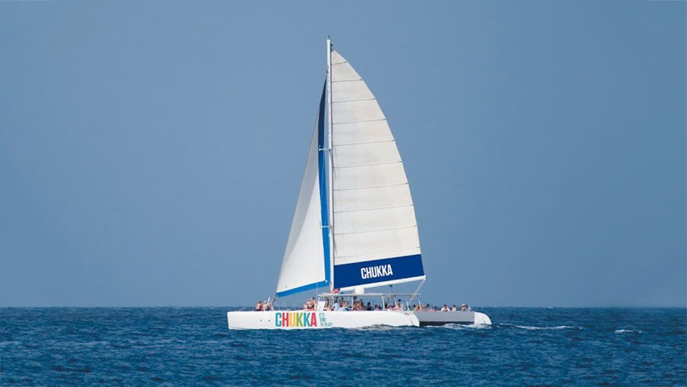 Sail boat off the coast of Nevis