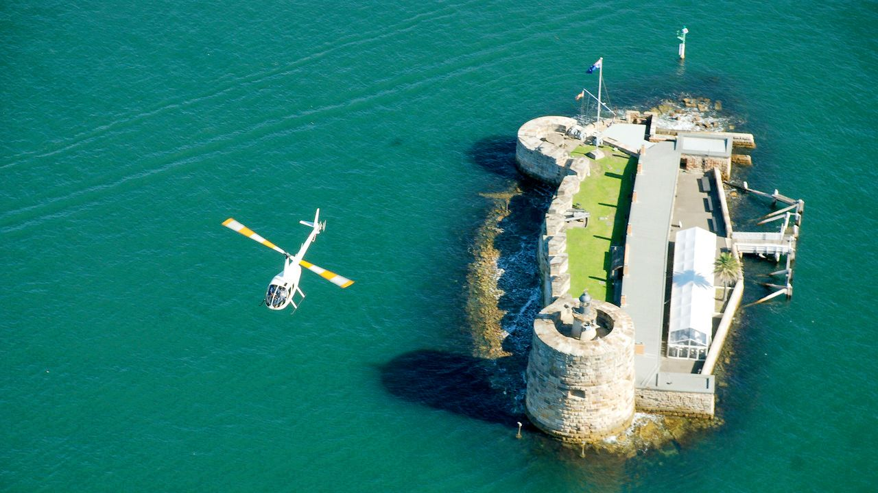 Aerial of Fort Denison in the Sydney Harbour Helicopter Flight in Australia.