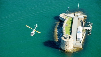 Show item 3 of 8. Aerial of Fort Denison in the Sydney Harbour Helicopter Flight in Australia.