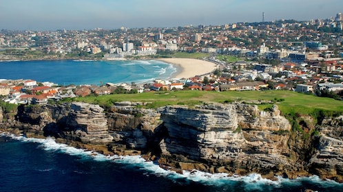 Aerial view of the cliffs in the Sydney grand helicopter tour in Australia.
