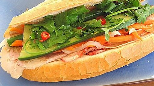 close up of sandwich at Vietnamese food tour in Melbourne
