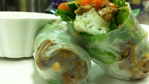 close up of Vietnamese Spring Roll at food tour in Melbourne