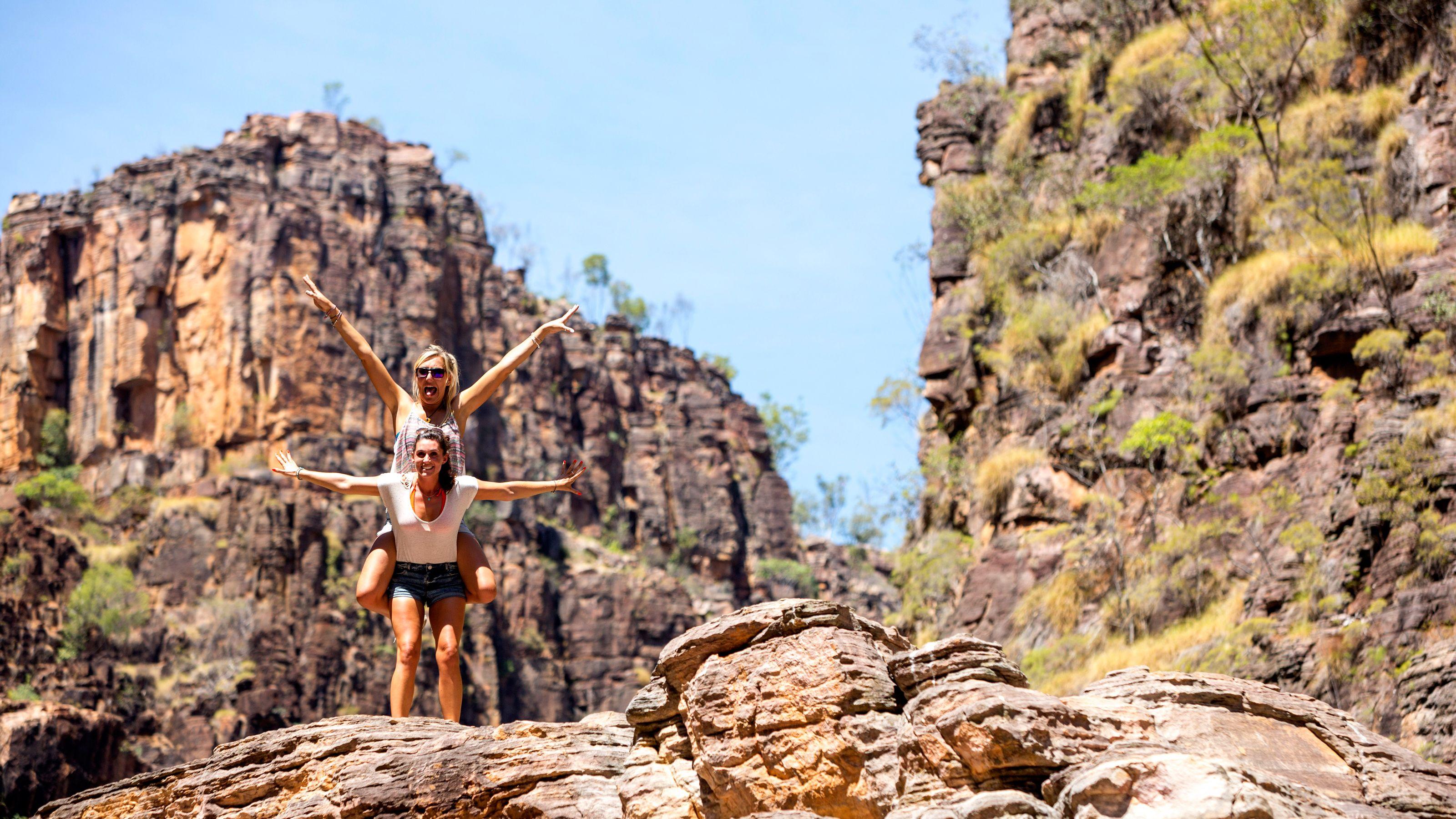 Two hikers having fun on hike in Darwin